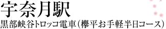 宇奈月駅 黒部峡谷トロッコ電車(欅平お手軽半日コース)