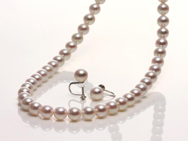 花珠あこや真珠 ネックレス&イヤリング(ピアス)セット