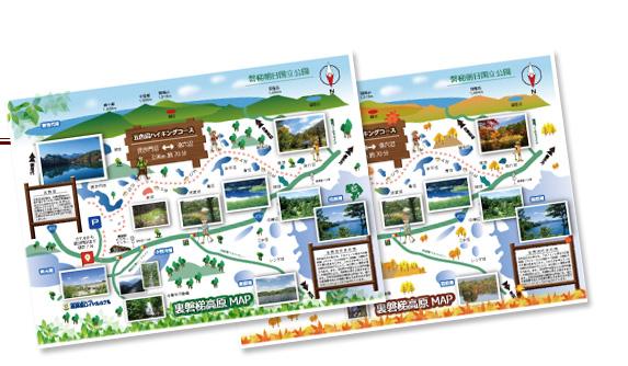 五色沼、夏秋オリジナルマップ