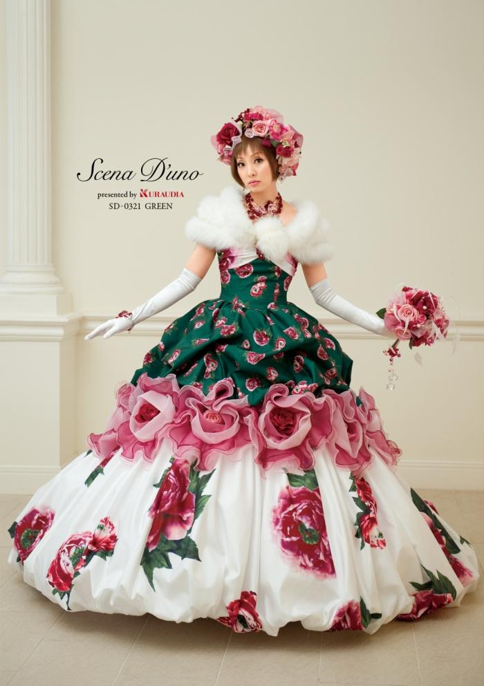 f381b584a42cb こだわり花嫁のキュートなお色直しのドレスは、タッキングスカートとフリルのお花から切り替えたバルーンスカートが、なんとも華やかで個性的なシルエットと、  ...